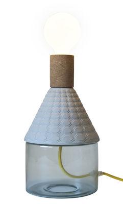 Lampe de table MRND -  Dina / H 29 cm - Ampoule non fournie - Seletti bleu en verre/céramique/bois