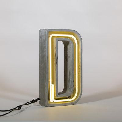 Lampe de table Néon Alphacrete / Lettre D - Intérieur / extérieur - Seletti blanc,gris en pierre