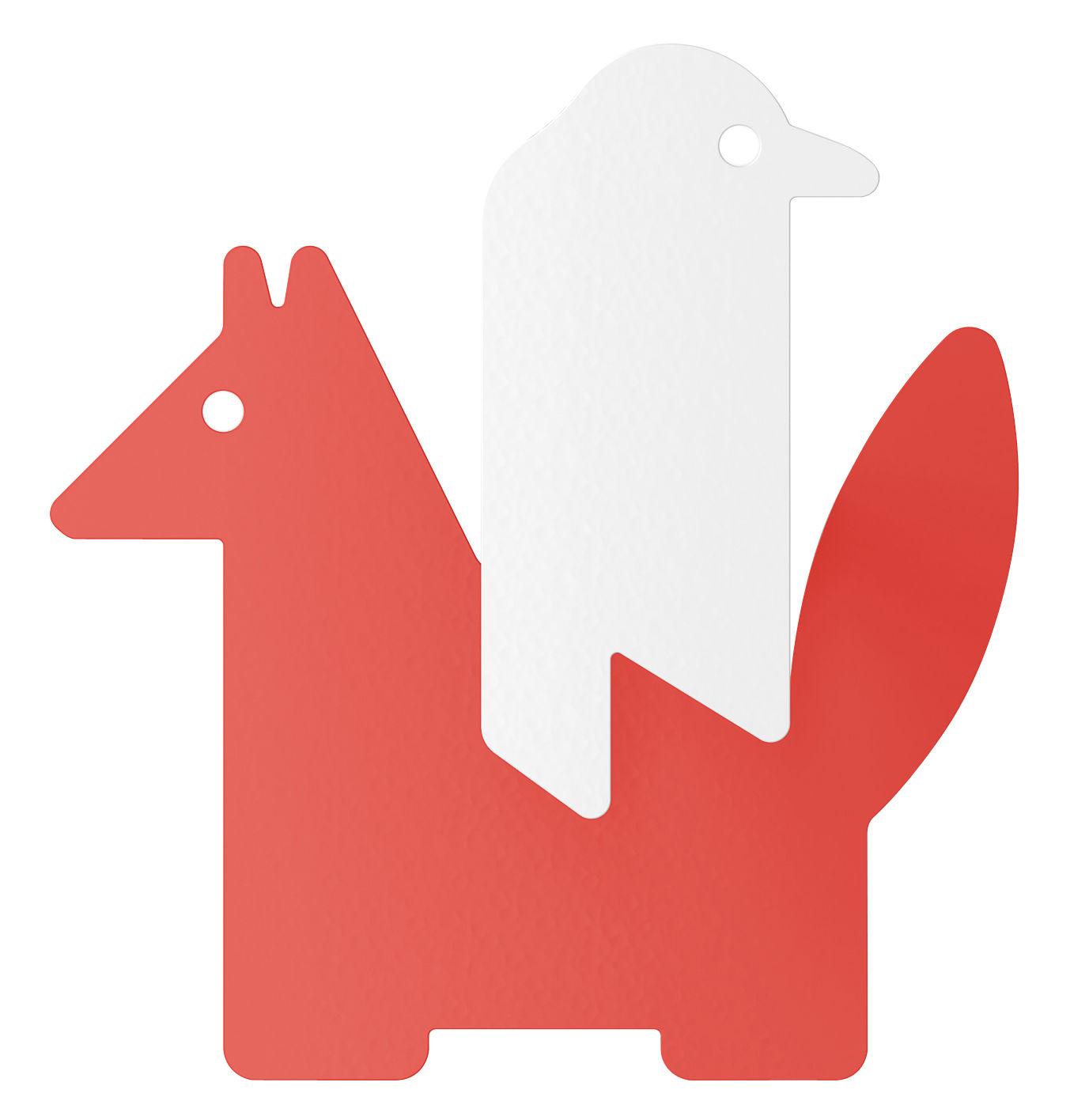 Mobilier - Portemanteaux, patères & portants - Patère Le Corbeau et le Renard - ENOstudio - Corbeau & renard / Corail - Acier peint
