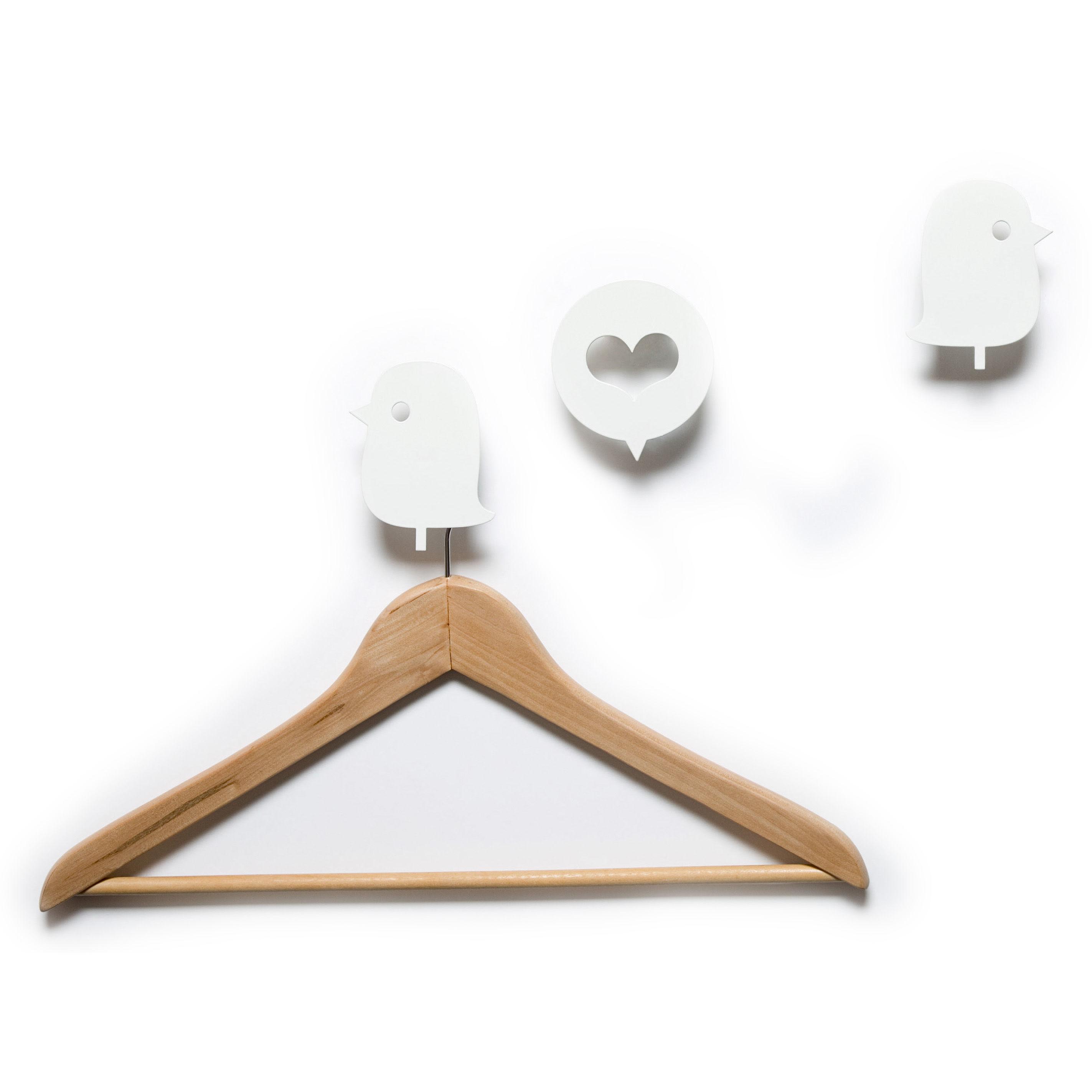 Mobilier - Portemanteaux, patères & portants - Patère Oiseaux et cœur / Lot de 3 - Domestic - Oiseaux et cœur / Blanc - Aluminium laqué
