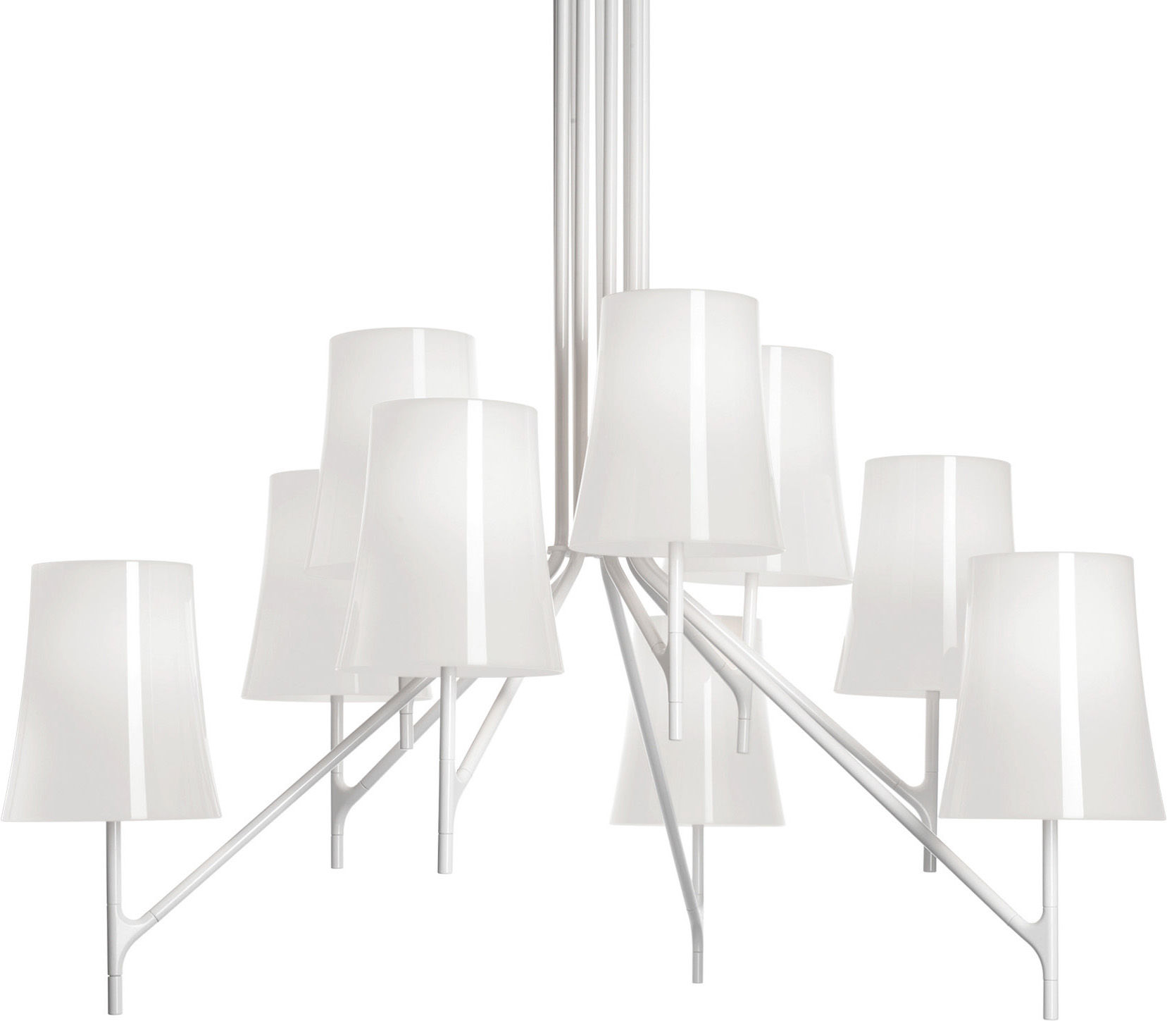 Lighting - Pendant Lighting - Birdie Pendant - Six arms - Fix height by Foscarini - 6 arms - White - Polycarbonate, Varnished stainless steel