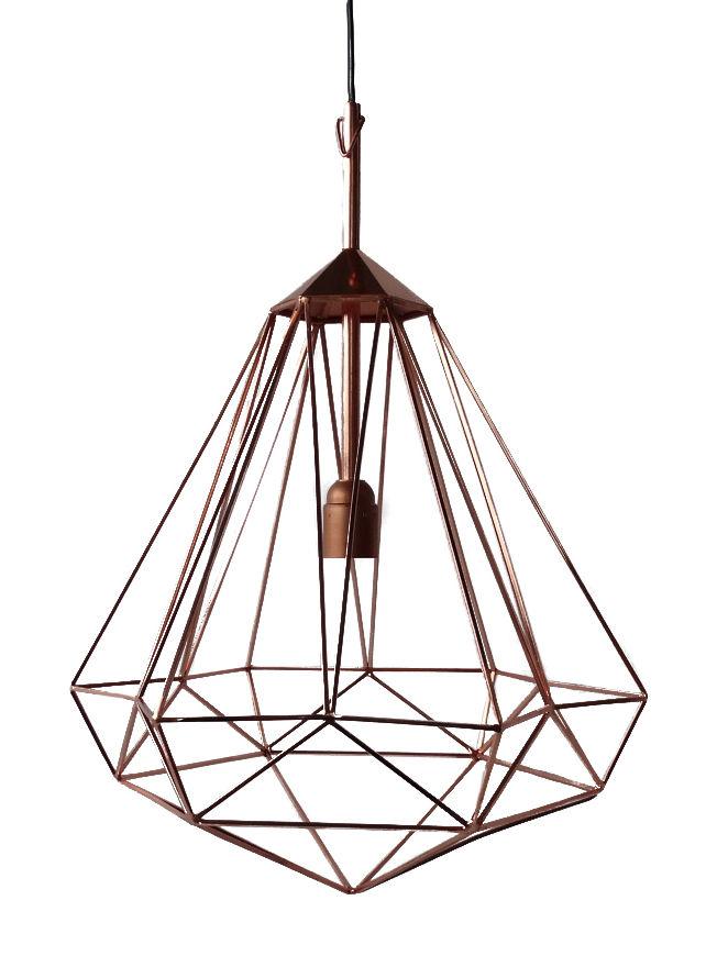 Lighting - Pendant Lighting - Diamant M Pendant by Pols Potten - Copper / Medium - H 55 cm - Iron with copper finish