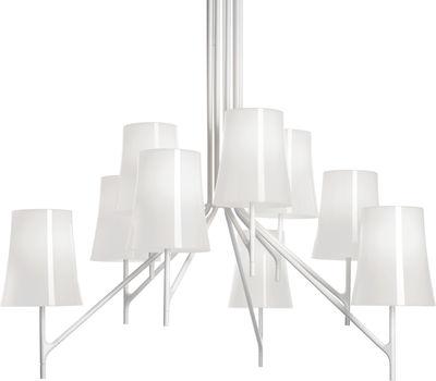 Leuchten - Pendelleuchten - Birdie Pendelleuchte 6 Arme - feste Höhe - Foscarini - 6 Arme - Weiß - klarlackbeschichteter rostfreier Stahl, Polykarbonat