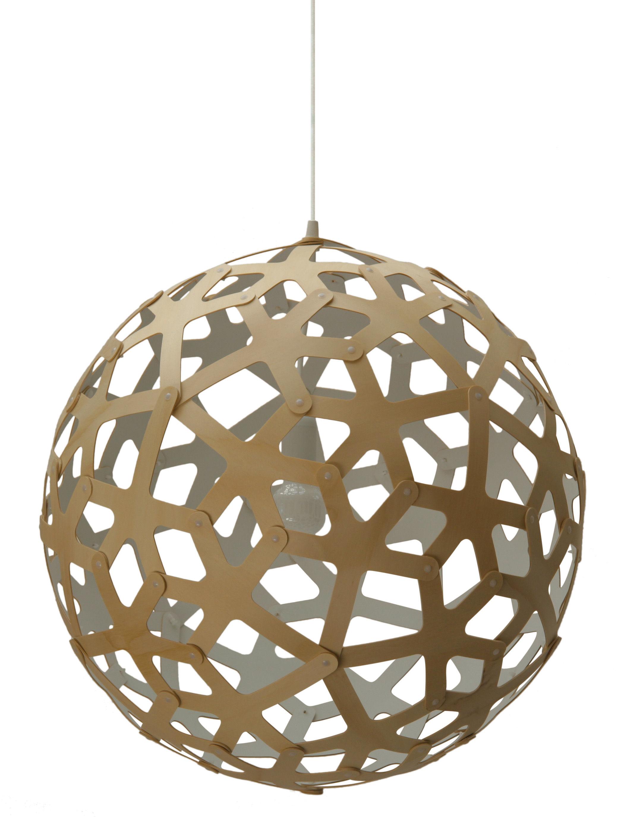Leuchten - Pendelleuchten - Coral Pendelleuchte Ø 60 cm - Zweifarbig - Exklusiv - David Trubridge - Weiß / Holz natur - Kiefer