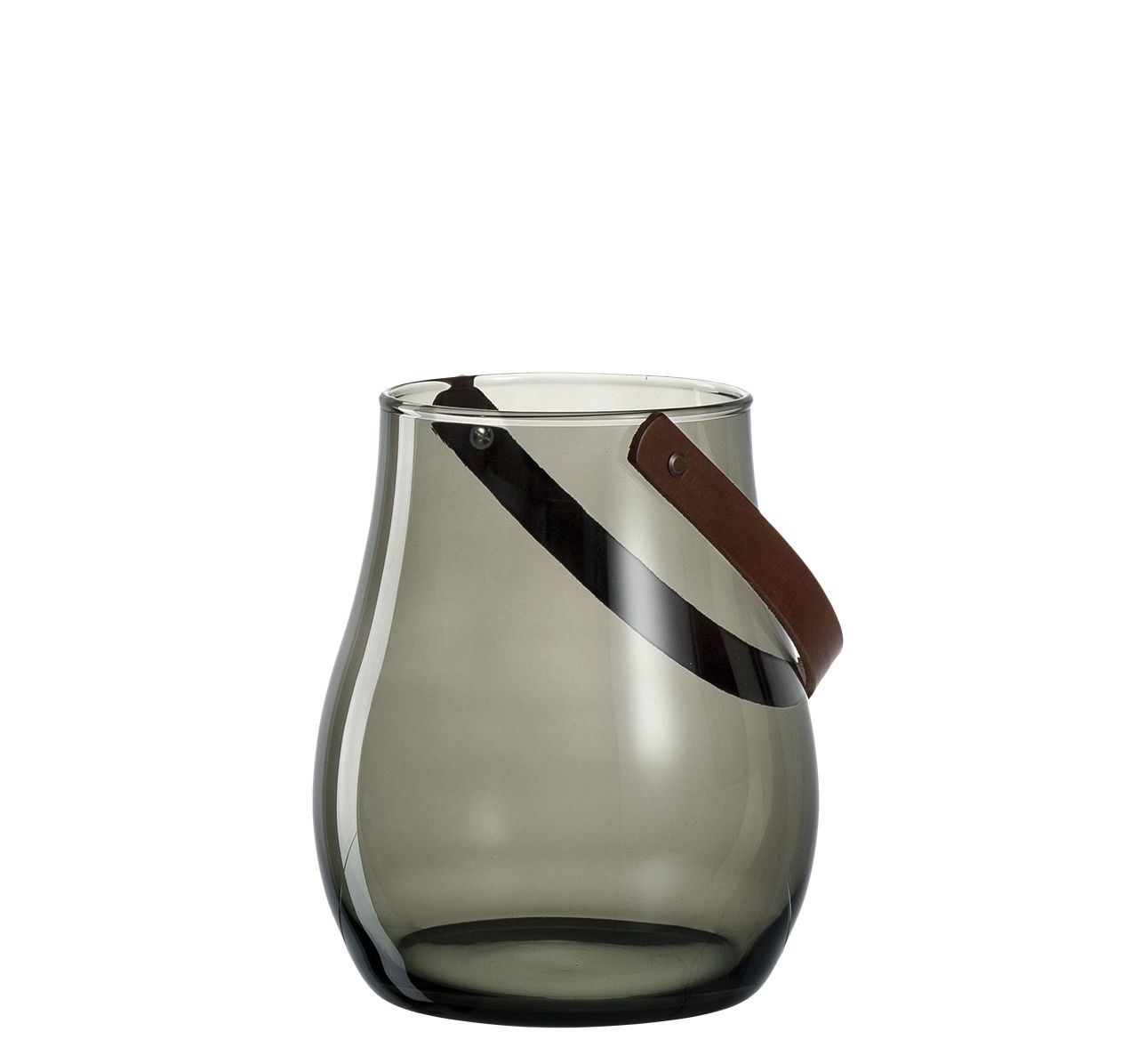 Déco - Bougeoirs, photophores - Photophore Giardino / Fabriqué main - Ø 19 x H 22 cm - Leonardo - Gris transparent - Cuir, Verre