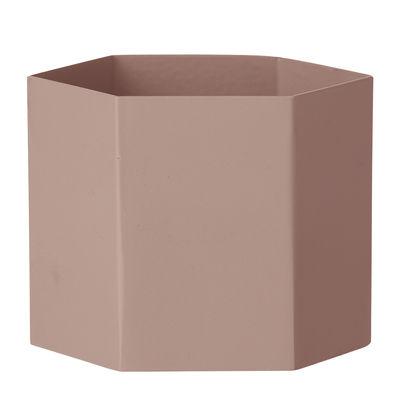 Pot de fleurs Hexagon XL / Ø 18 x H 16 cm - Ferm Living rose en métal
