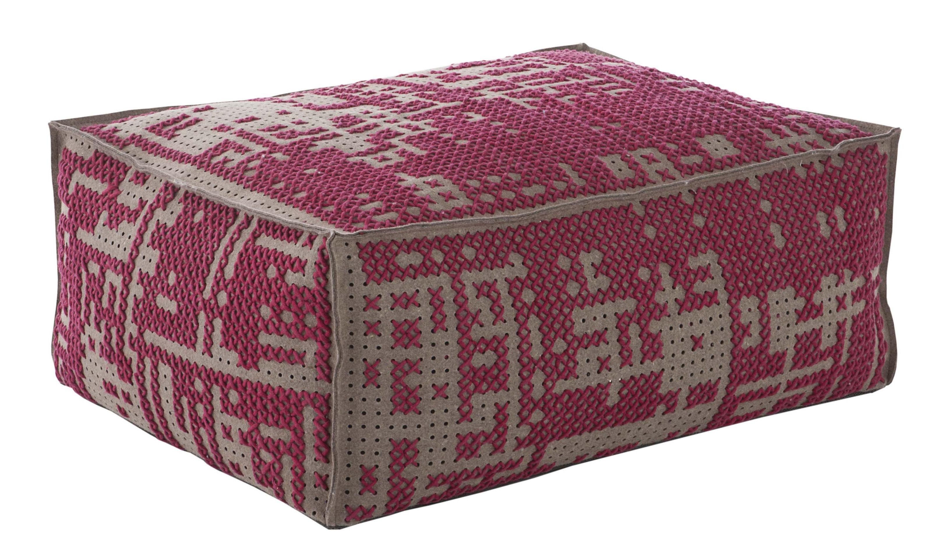 Furniture - Poufs & Floor Cushions - Abstract Pouf - 100 x 70 cm by Gan - Pink / Grey - Felt, Rubber foam, Wood, Wool