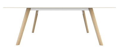 Möbel - Tische - Pilo rechteckiger Tisch / 200 x 90 cm - Magis - Holz natur / weiß - Esche massiv, Fonte d'aluminium, HPL