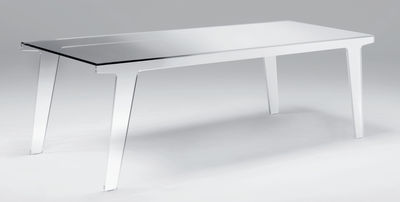 Furniture - Dining Tables - Faint Rectangular table - 200 x 90 cm by Glas Italia - Shade of white & smoked - Glass