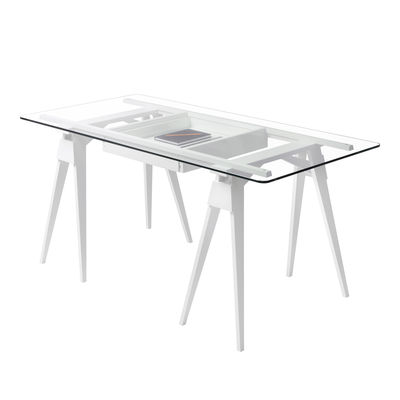 Möbel - Büromöbel - Arco Schreibtisch / Glas und Holz - 150 x 75 cm - Design House Stockholm - Weiß - Einscheiben-Sicherheitsglas, Lackiertes Massivholz