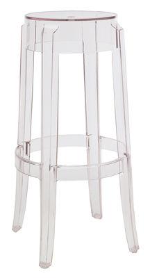 Arredamento - Sgabelli da bar  - Sgabello alto impilabile Charles Ghost - h 75 cm di Kartell - Trasparente - policarbonato