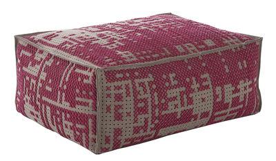 Möbel - Sitzkissen - Abstract Sitzkissen / 100 x 70 cm - Gan - Rosa / grau - Filz, Holz, Mousse de caoutchouc, Wolle