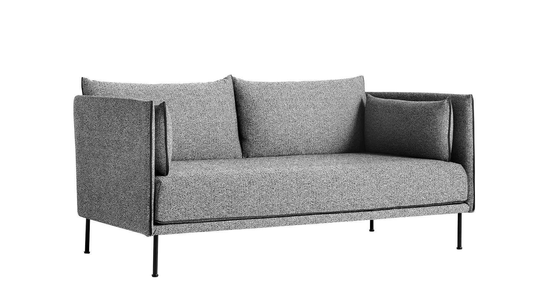 Möbel - Sofas - Silhouette Sofa / 2-Sitzer - L 171 cm - Hay - Grau / Füße schwarz - Gewebe, Glasfaser, lackierter Stahl, Leder, Plumes, Polyurethan-Schaum