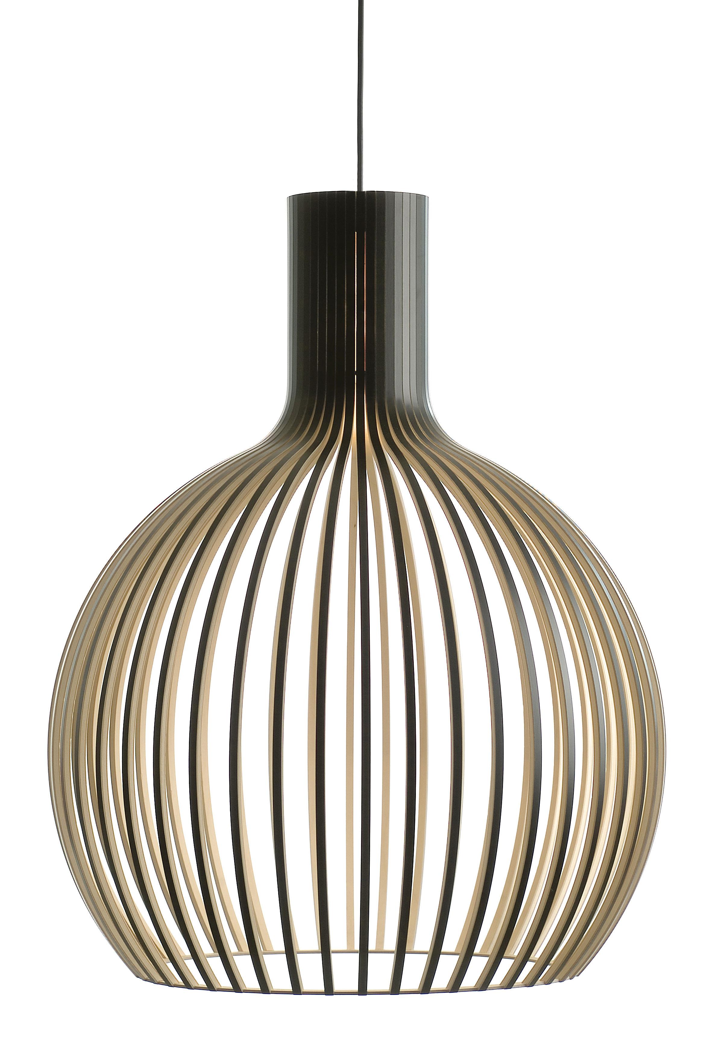 Luminaire - Suspensions - Suspension Octo / Ø 54 cm - Secto Design - Noir / Câble noir - Lattes de laminé de bouleau, Textile