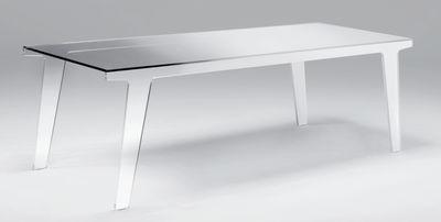 Table Faint / 200 x 90 cm - Glas Italia blanc,fumé en verre