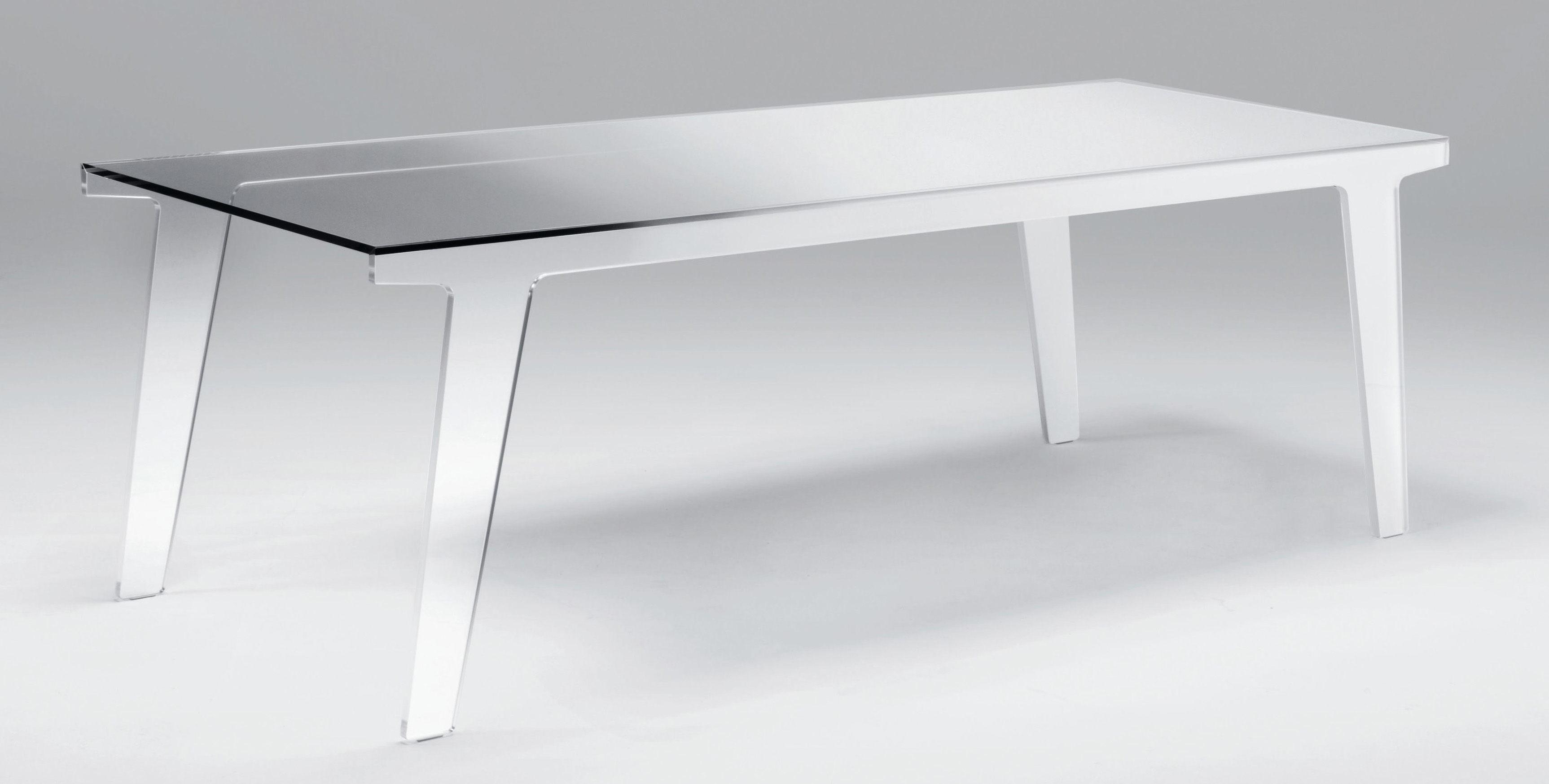 Mobilier - Tables - Table rectangulaire Faint / 200 x 90 cm - Glas Italia - L 200 cm - Fumé & dégradé blanc - Verre