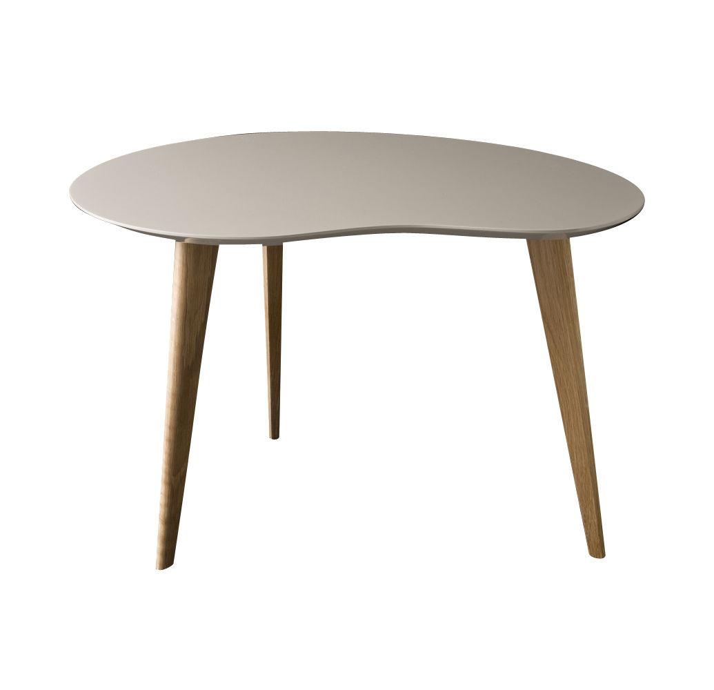 Arredamento - Tavolini  - Tavolino Lalinde Small - fagiolo / L 63cm / Gambe in legno di Sentou Edition - Grigio chiaro / Gambe legno - MDF laccato, Rovere