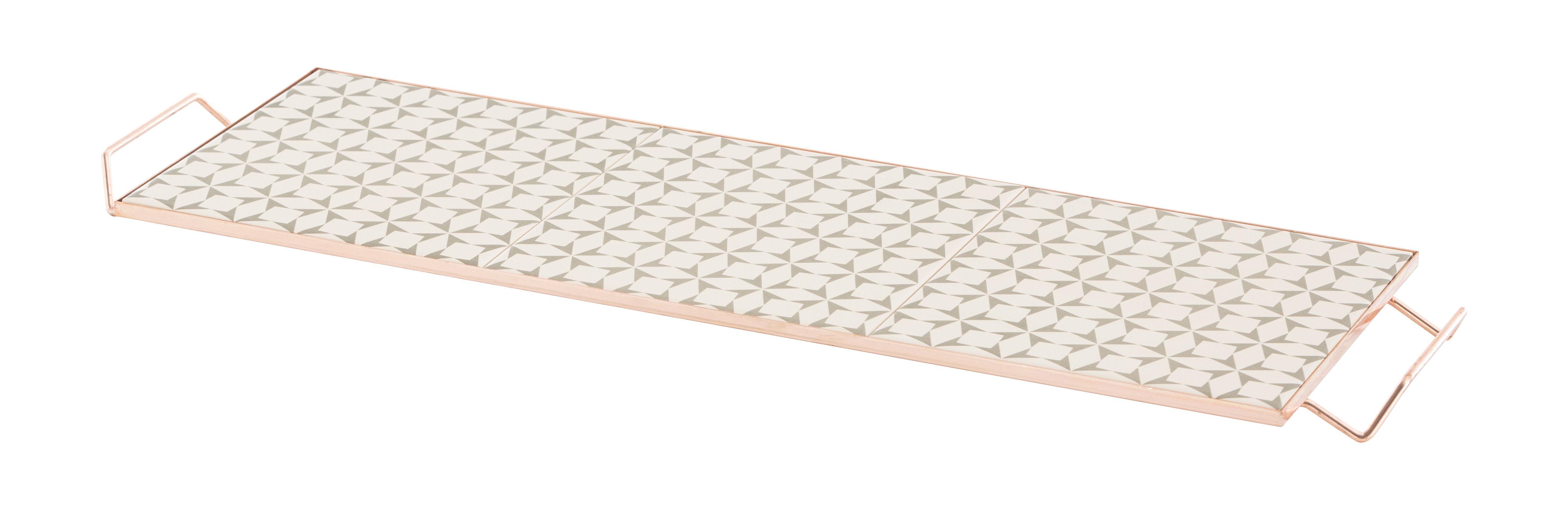 Tableware - Trays - Mix&Match Tray - 60 x 20 cm / Ceramic & copper by Gan - Grey & white - Ceramic, Copper plated aluminium