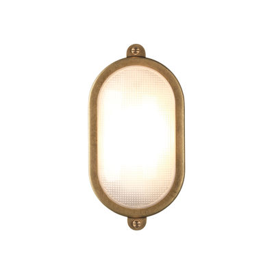 Lighting - Wall Lights - Malibu Oval Wall light - / Ceiling light - 15 x 29 cm by Astro Lighting - Oval / Brass - Glass, Solid brass