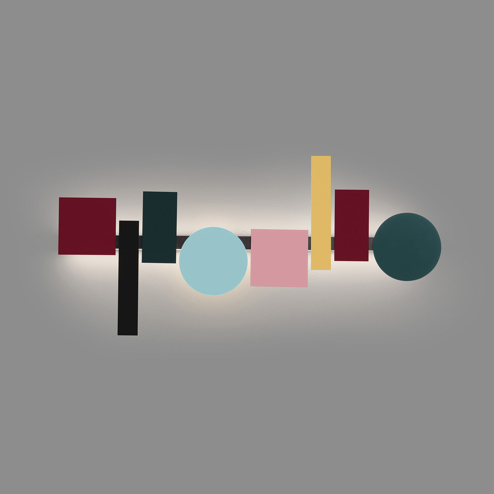 Lighting - Wall Lights - Totem LED Wall light - / L 120 cm - 8 magnetised shapes by Pallucco - l 120 cm / Multicoloured - Aluminium, Steel