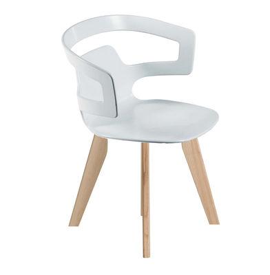 Furniture - Chairs - Segesta Wood Armchair - Plastic shell & wood legs by Alias - Wood feet / White plastic seat - Oak, Plastic material