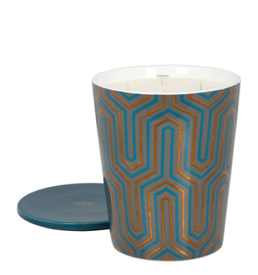 Bougie parfumée Ilum / Infusion déco - Ø 15 x H 22 cm - Max Benjamin bleu,or en verre