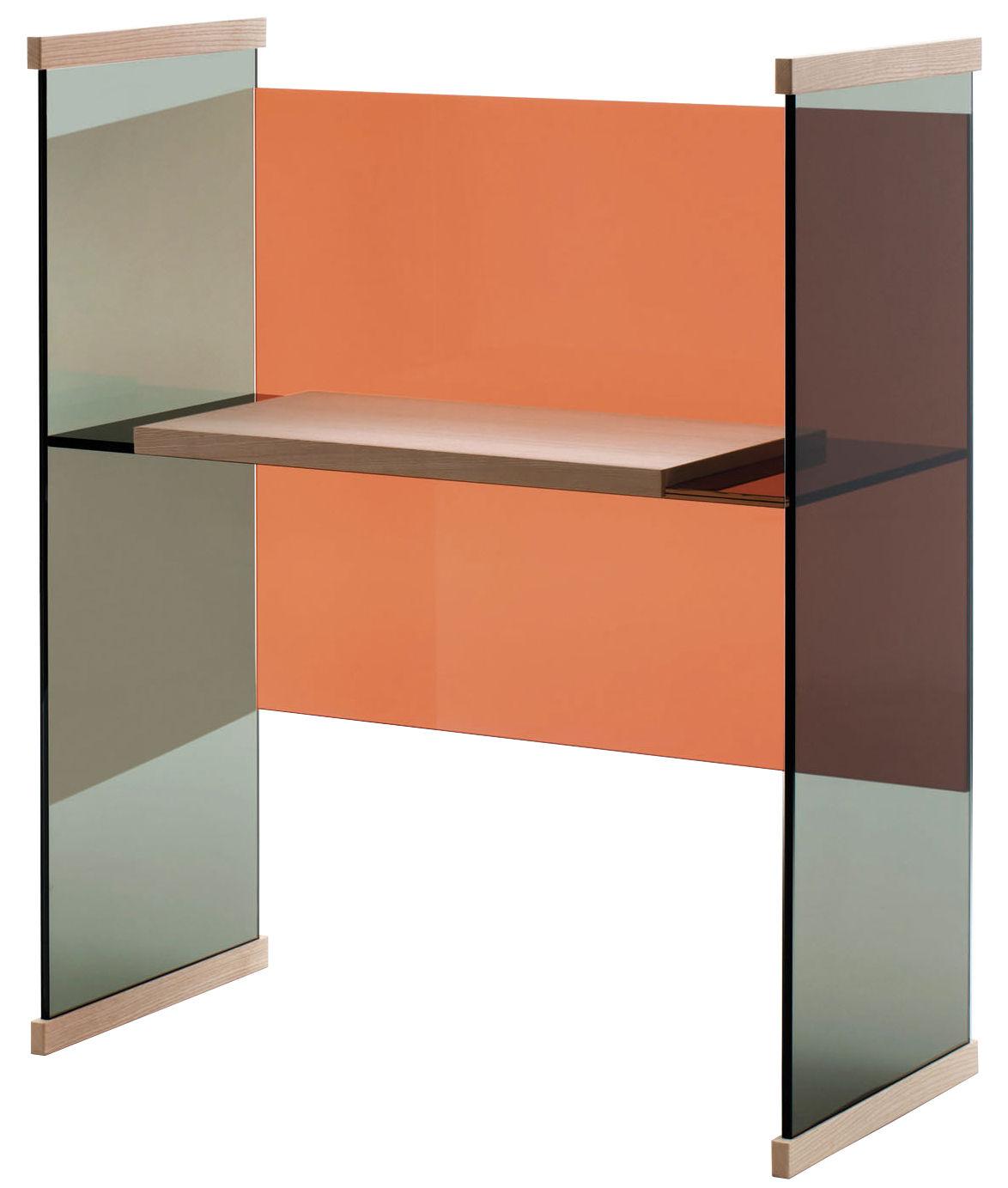 Mobilier - Bureaux - Bureau Diapositive / Bas - H 124 cm - Glas Italia - H 124 cm / Gris foncé & fond orange - Frêne massif, Verre