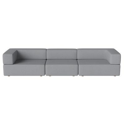 Canapé droit Recover / 3 places - L 335 cm - Bolia gris en tissu