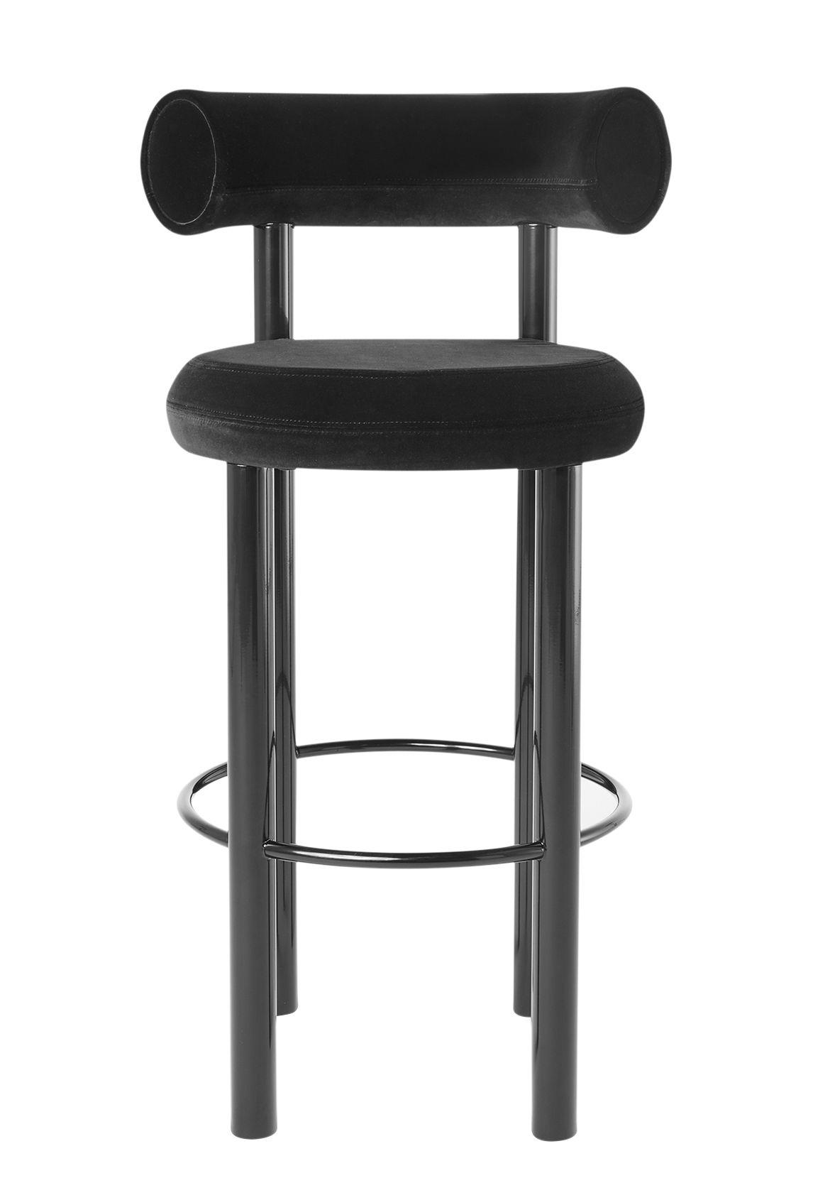 Mobilier - Tabourets de bar - Chaise de bar Fat / Velours - H 75 cm - Tom Dixon - Noir - Acier laqué, Mousse moulée, Velours