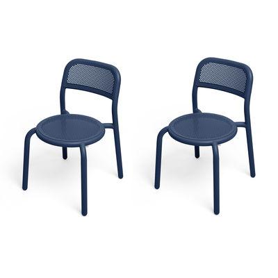 Mobilier - Chaises, fauteuils de salle à manger - Chaise empilable Toní / Set de 2 - Aluminium perforé - Fatboy - Océan foncé - Aluminium peinture poudre