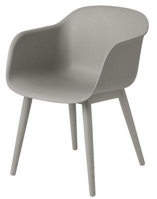 Chaise Fiber Pieds bois Muuto gris en matériau composite