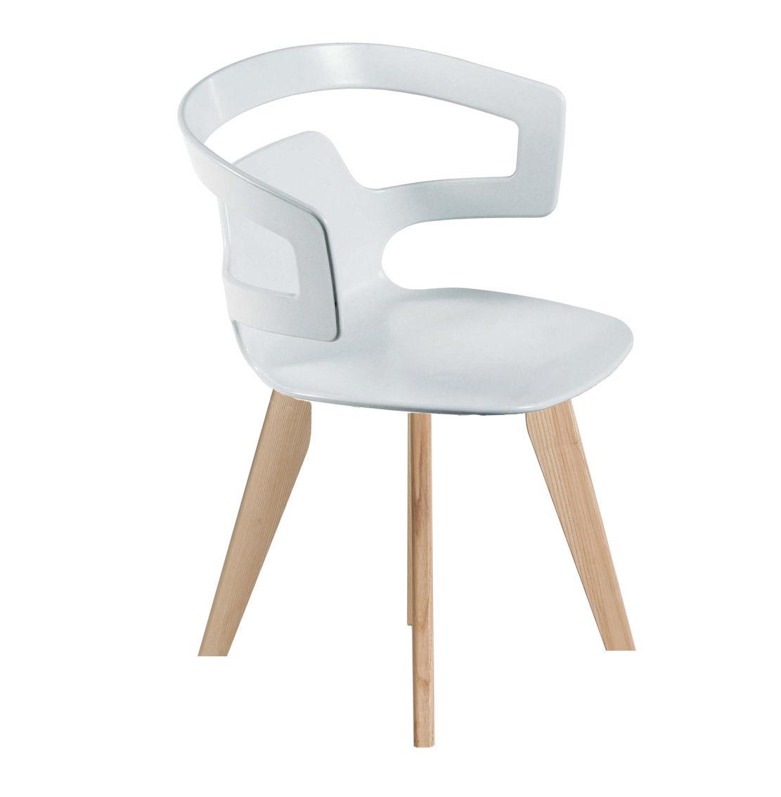 Mobilier - Chaises, fauteuils de salle à manger - Fauteuil Segesta Wood / Coque plastique & pieds bois - Alias - Piètement en finition chêne / Coque blanche - Chêne, Matière plastique