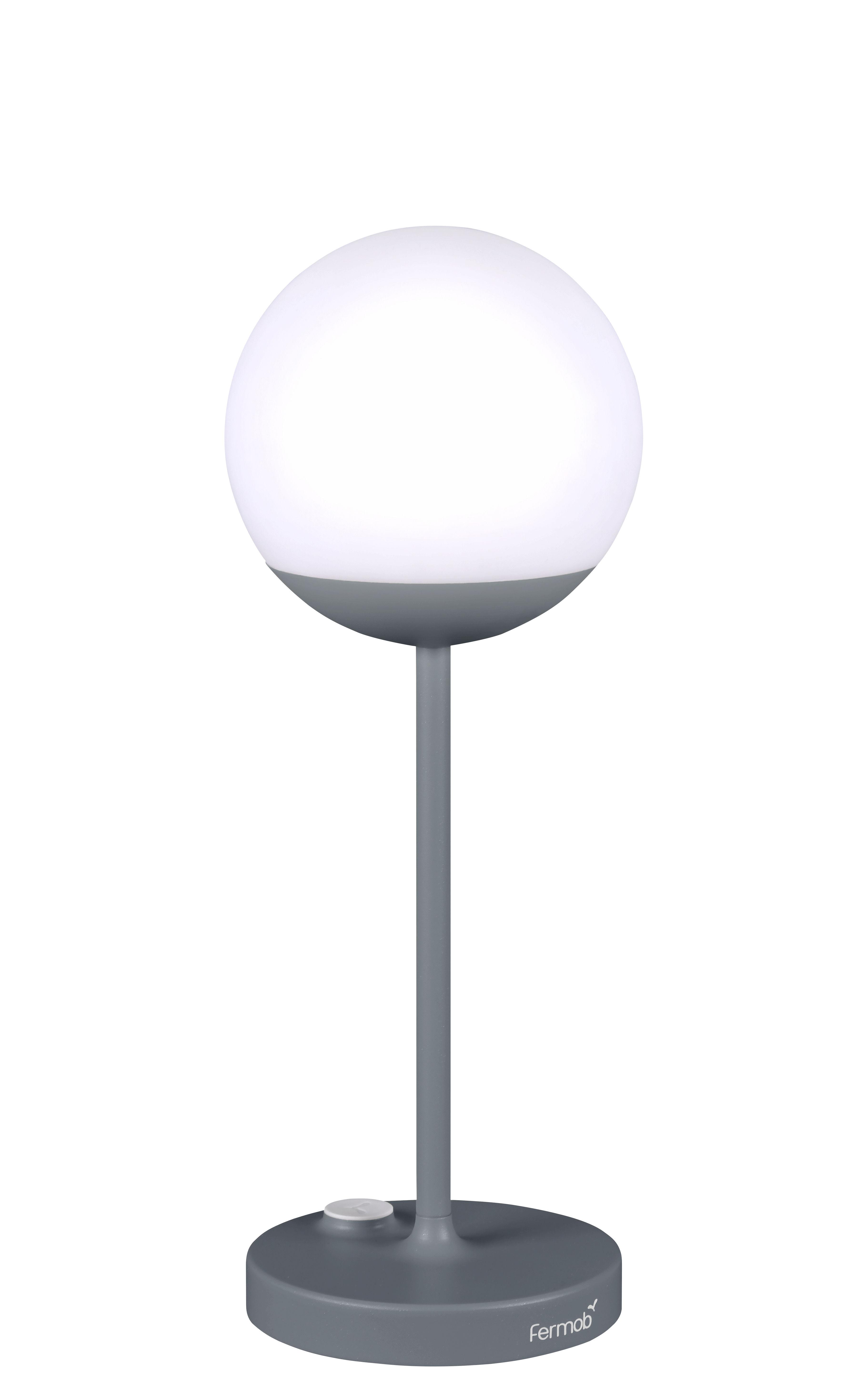 Illuminazione - Lampade da tavolo - Lampada senza fili Mooon! LED - / H 41 cm - Ricarica USB di Fermob - Grigio temporale - Alluminio, Polietilene