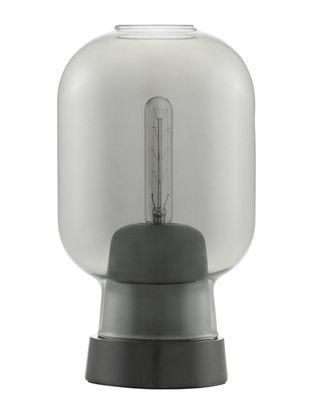 Lampe de table Amp / Verre & marbre - Normann Copenhagen gris fumé en verre