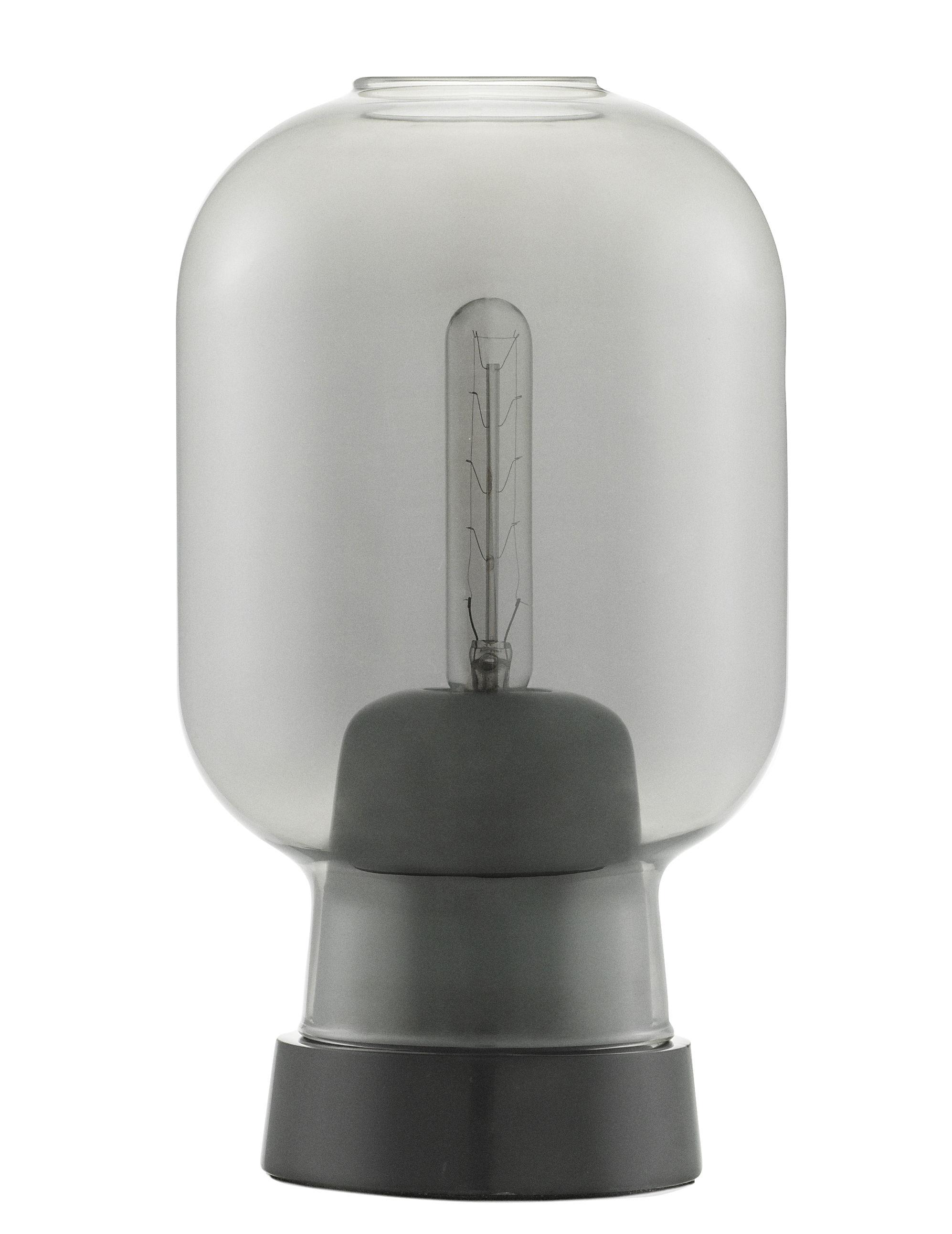 Luminaire - Lampes de table - Lampe de table Amp / Verre & marbre - Normann Copenhagen - Gris fumé / Marbre noir - Marbre, Verre