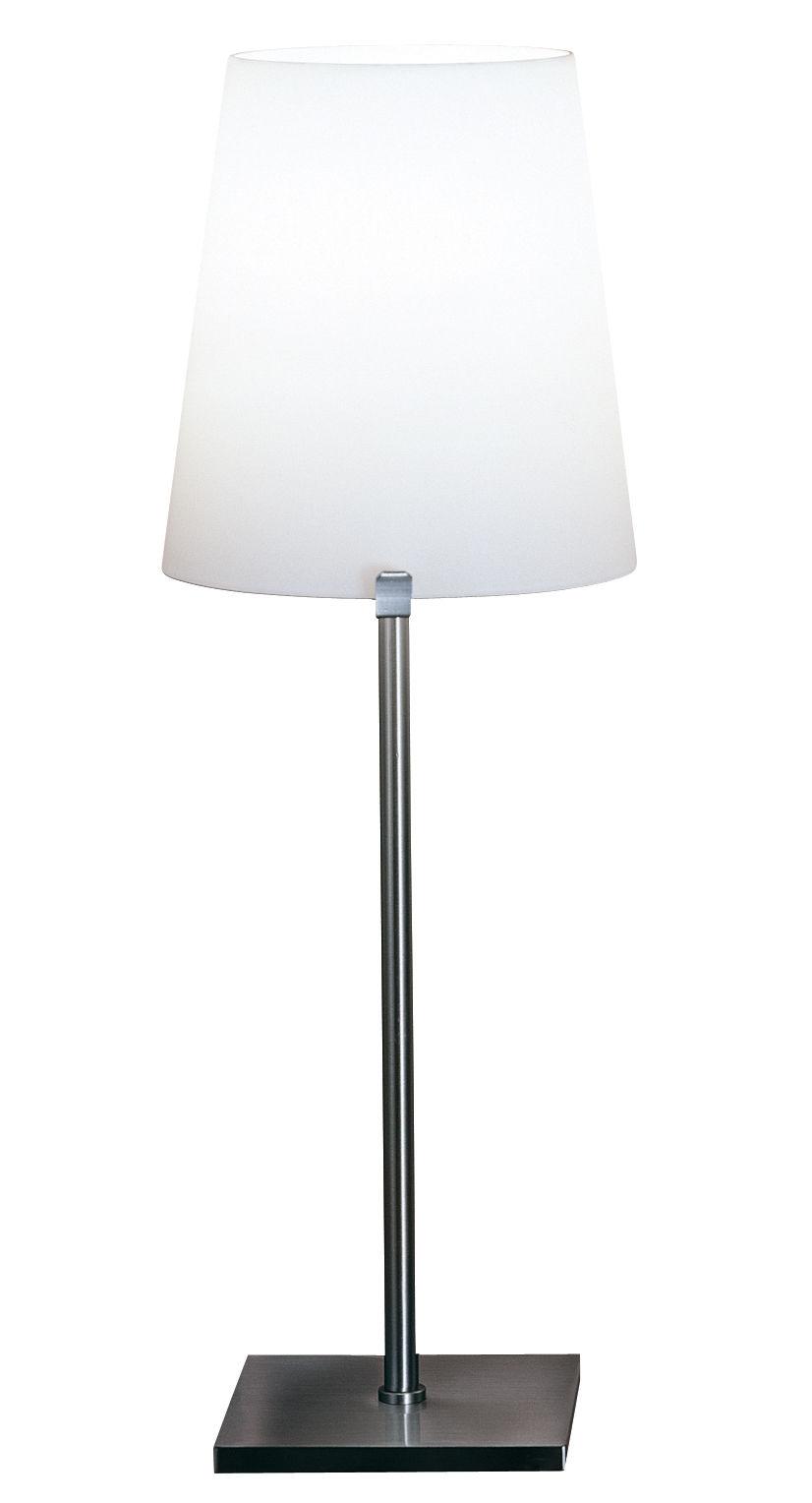 Luminaire - Lampes de table - Lampe de table Chiara - Fontana Arte - Blanc - Acier inoxydable brossé, Verre soufflé