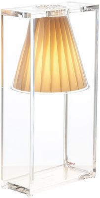 Luminaire - Lampes de table - Lampe de table Light-Air / Abat-jour tissu - Kartell - Tissu beige / Cadre cristal - Technopolymère thermoplastique, Tissu