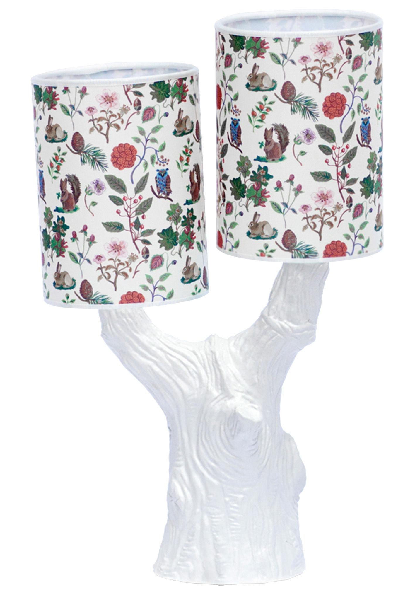 Leuchten - Tischleuchten - Y&M Lampe / mit 2 Lampenschirmen - Domestic - Baumstamm weiß / 2 Lampenschirme mit Herbstmotiven - Coton sérigraphié, emailliertes Terrakotta