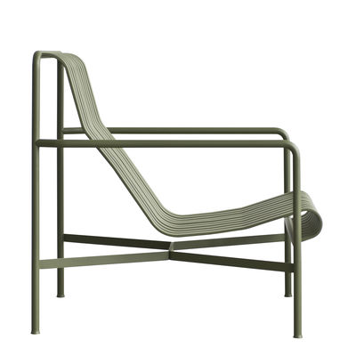 Furniture - Armchairs - Palissade Low armchair - High backrest - R & E Bouroullec by Hay - Olive green - Electro galvanized steel, Peinture époxy