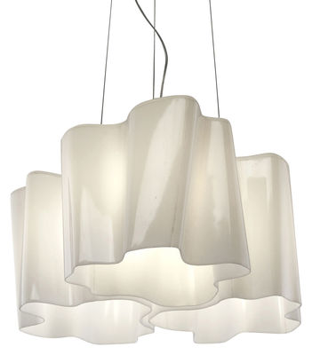 Lighting - Pendant Lighting - Logico Mini Pendant - 3 elements x120° by Artemide - White - small - Blown glass