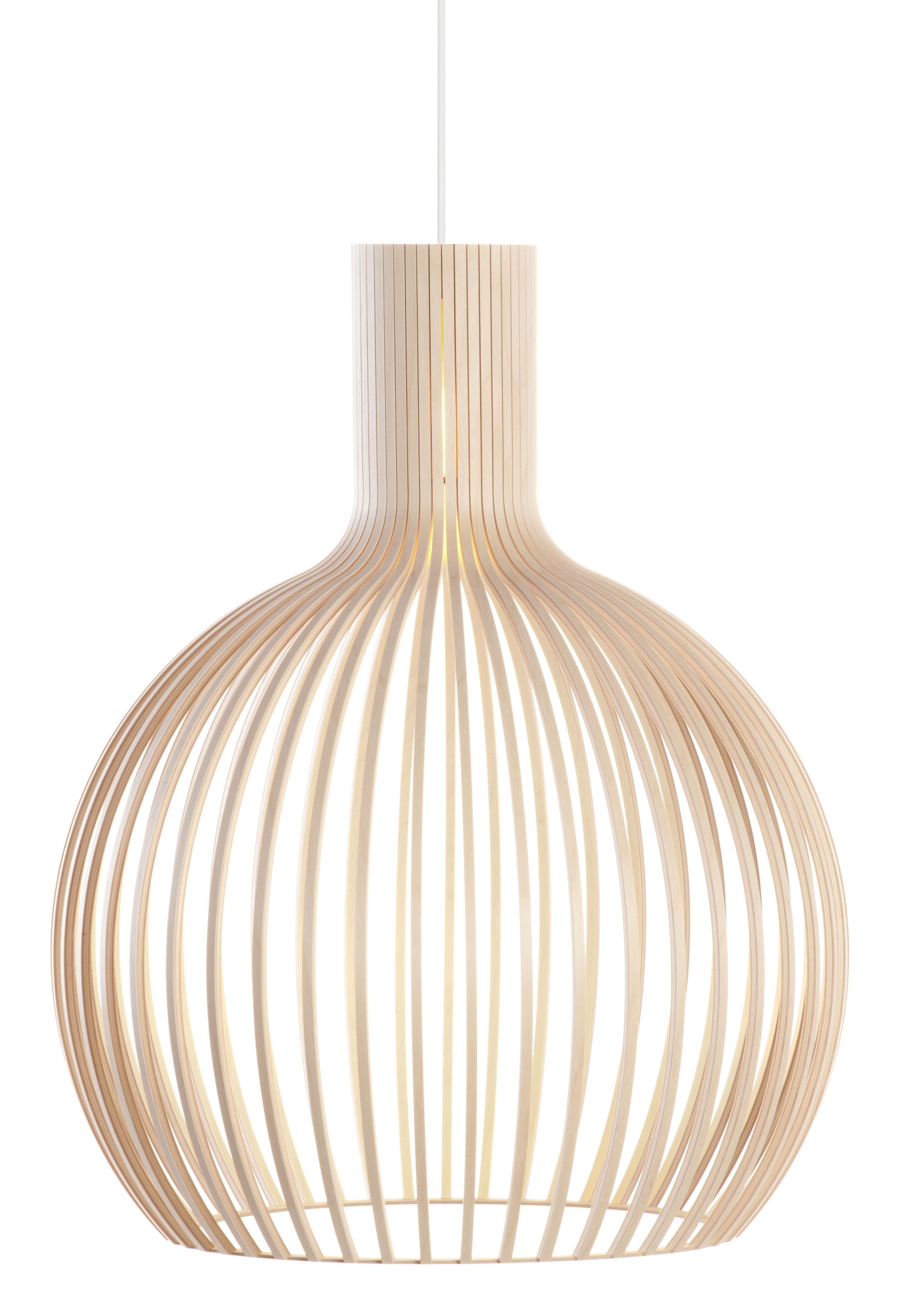 Leuchten - Pendelleuchten - Octo Pendelleuchte / Ø 54 cm - Secto Design - Birkenholz natur / Kabel weiß - Birkenlatten, Textil