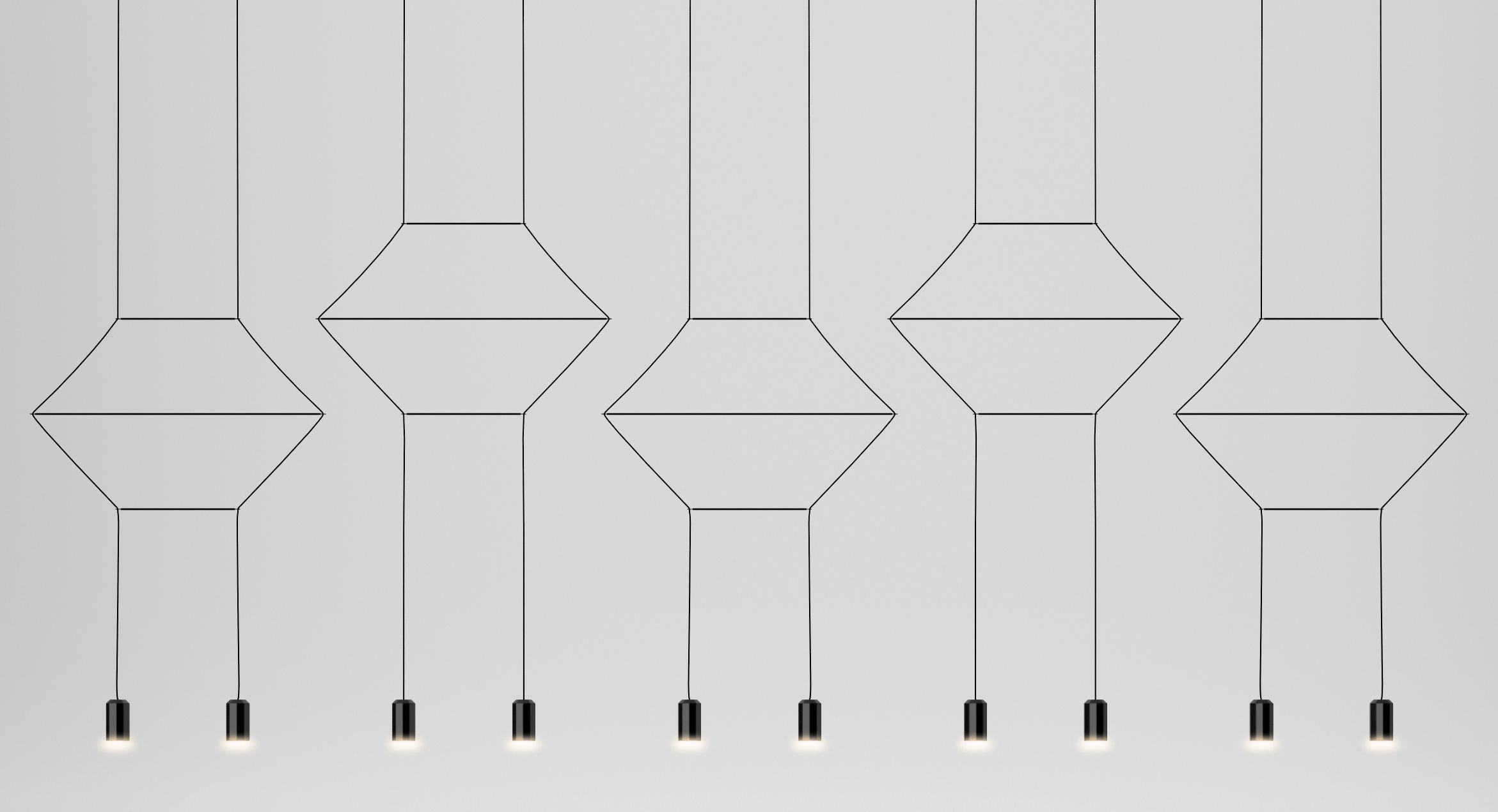 Leuchten - Pendelleuchten - Wireflow Pendelleuchte / L 322 cm - Vibia - Gerade Form / Schwarz - Gewebe, Glas, lackiertes Metall, Teflon
