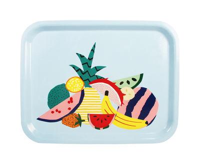 Arts de la table - Plateaux - Plateau Fruits / Mélamine - 36 x 28 cm - & klevering - Fruits multicolores / Fond bleu ciel - Contreplaqué, Mélamine