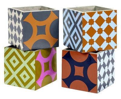 Decoration - Flower Pots & House Plants - Marie Large Pot - Set of 4 by Serax - Multicolored - Enamelled cement