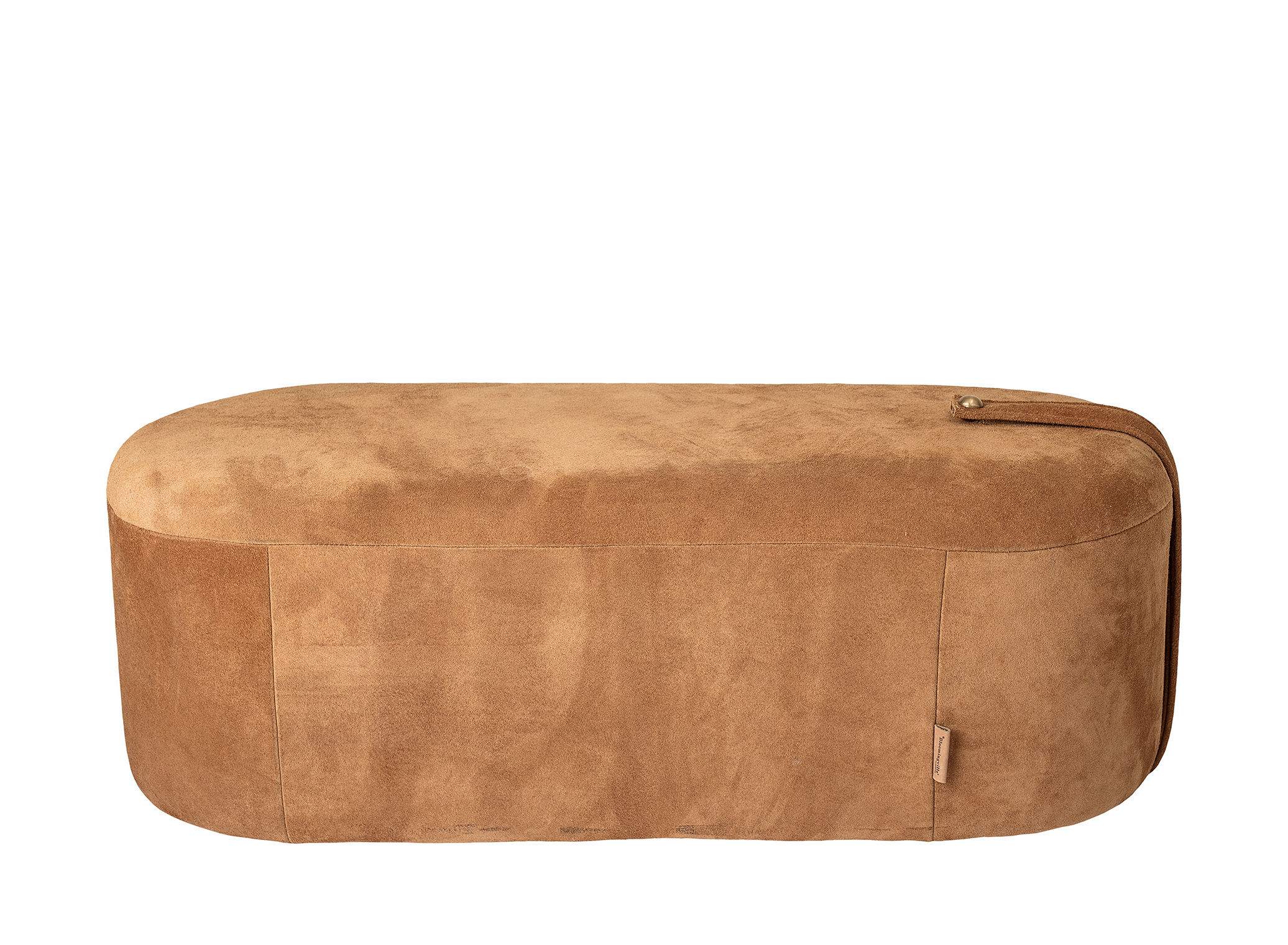 Mobilier - Poufs - Pouf Time / Cuir - L 100 x H 35 cm - Bloomingville - Cognac - 100% cuir suédé