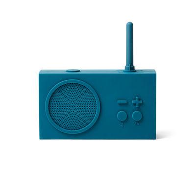 Accessoires - Réveils et radios - Radio portable Tykho 3 / Enceinte Bluetooth - Lexon - Bleu canard - Gomme siliconée
