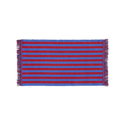 Decoration - Rugs - Stripes and stripes Rug - / 95 x 52 cm - Cotton by Hay - Red & blue - Cotton
