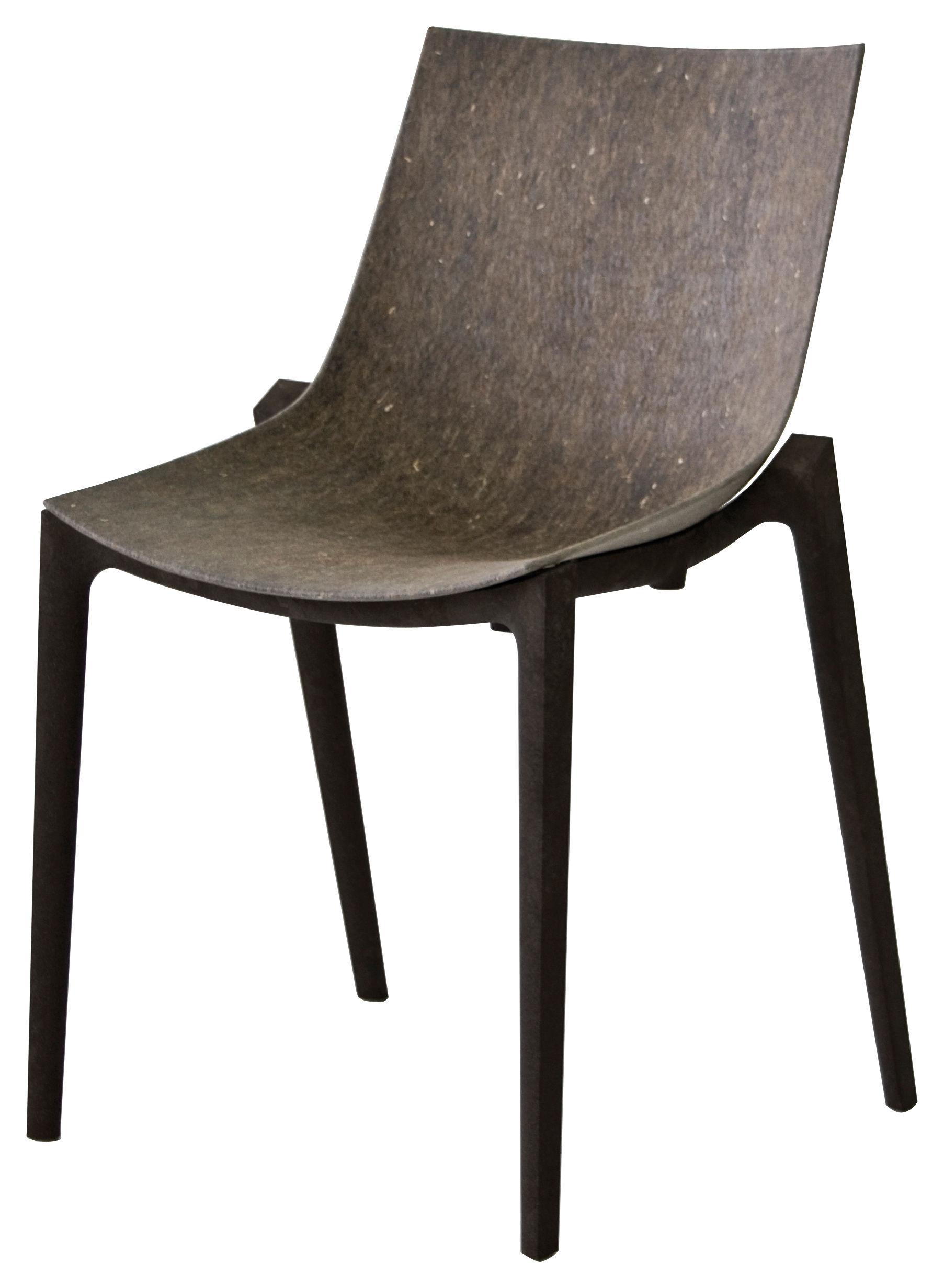 Arredamento - Sedia impilabile Zartan Eco - /Fibra scura - Ideata da Philippe Starck di Magis - Seduta Grigia/Gambe grigio scuro - Fibre de chanvre, Polypropylène recyclé