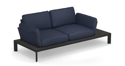 Möbel - Sofas - Tami Sofa / L 205 cm - Emu - Gewebe blau / Gestell: schwarz und anthrazit - Aluminiumlegierung, Polyacryl-Gewebe, Schaumstoff, WPC Bambus