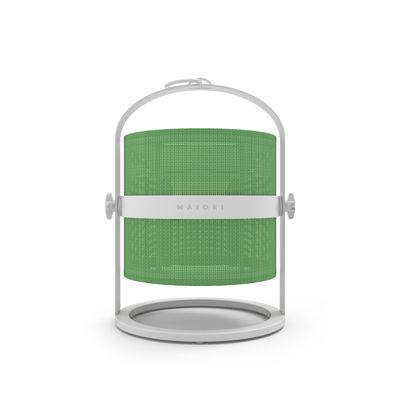 Leuchten - Tischleuchten - La Lampe Petite LED Solarlampe / kabellos - Gestell weiß - Maiori - Grasgrün / Gestell weiß - Aluminium, Tissu technique